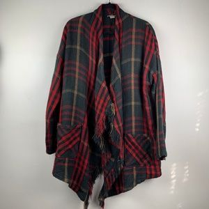 Lucky Brand Blanket Cardigan Plaid Wrap XL Red